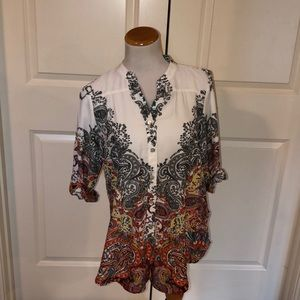 Fig and Flower Anthropologie White Floral Blouse